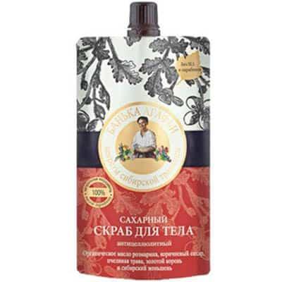 Cukrowy scrub do ciała – antycellulitowy cukier trzcinowy, melisa, różeniec górski 100ml Bania Agafii