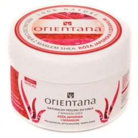 Naturalny peeling do ciała z masłem shea RÓŻA JAPOŃSKA I GERANIUM 200g Orientana data ważności: 31.07.2017