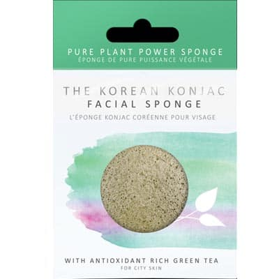Gąbka Konjac Premium do mycia twarzy z zieloną herbatą o działaniu wzmacniającym i antyoksydacyjnym do każdej cery