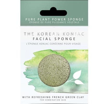 Gąbka Konjac Premium z zieloną glinką do cery normalnej, mieszanej i tłustej