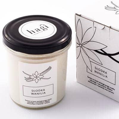 Świeca sojowa – Słodka Wanilia 230g+opakowanie HAGI