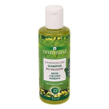 Ajurwedyjski szampon do włosów NEEM I ZIELONA HERBATA 210 ml Orientana