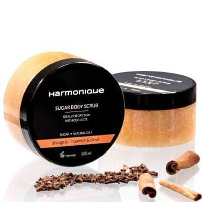 Cukrowy peeling do ciała Pomarańcza & Cynamon & Goździk 200ml Harmonique