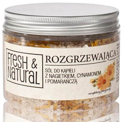 Rozgrzewająca sól do kąpieli z nagietkiem, cynamonem i pomarańczą 500g Fresh&Natural