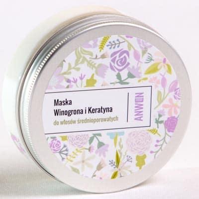Maska do włosów średnioporowatych – Winogrona i Keratyna 200ml Anwen