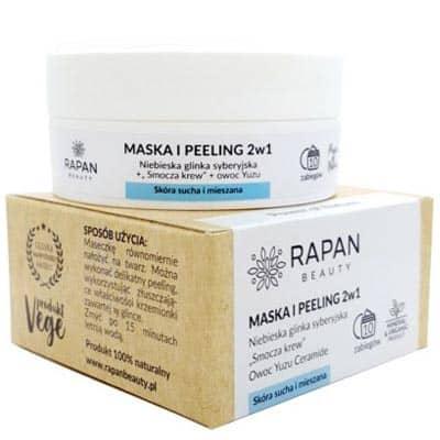 Maska i peeling 2w1 Power of Nature Niebieska glinka + Smocza krew 10 zabiegów Rapan beauty
