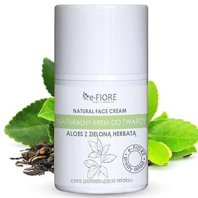 Naturalny krem do twarzy z zieloną herbatą kojąco-relaksujący 50ml e-FIORE