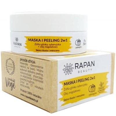 Maska i peeling 2w1 Pure Nature Żółta glinka + olejek migdałowy 10 zabiegów Rapan beauty
