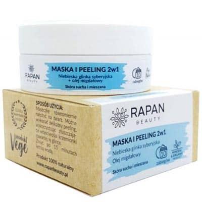 Maska i peeling 2w1 Pure Nature Niebieska glinka + olejek migdałowy 10 zabiegów Rapan beauty