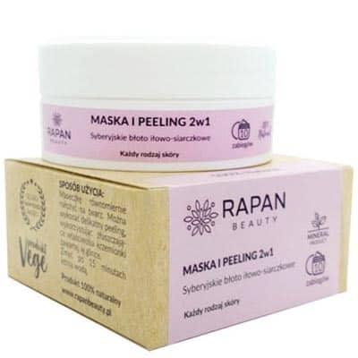 Maska i peeling 2w1 Błoto iłowo-siarczkowe 100% Natural 10 zabiegów Rapan beauty