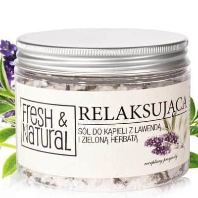 RELAKSUJĄCA sól do kąpieli z lawendą i zieloną herbatą 500g Fresh&Natural