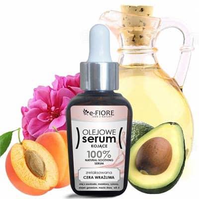 Serum olejowe kojące Awokado, Morela, Masło Shea, witamina E relaksuje i nawilża bardzo suchą skórę 30ml e-Fiore