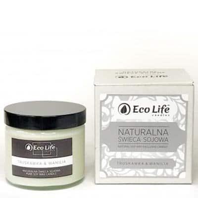 Naturalna świeca sojowa zapachowa Truskawka & Wanilia 450g Eco Life