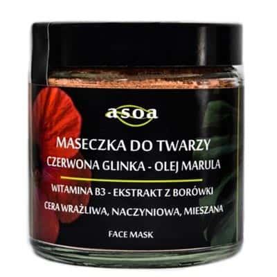 Maseczka do twarzy – czerwona glinka, olej marula 120ml ASOA