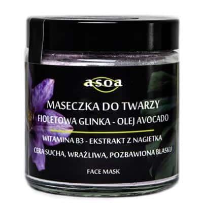 Maseczka do twarzy – fioletowa glinka, olej avocado 120ml ASOA