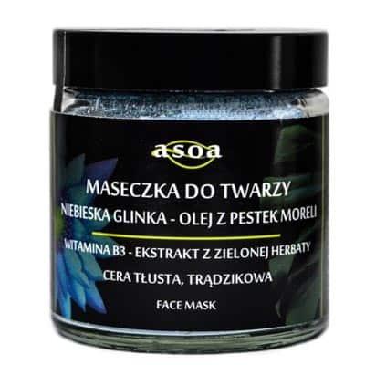 Maseczka do twarzy – niebieska glinka, olej z pestek moreli 120ml ASOA