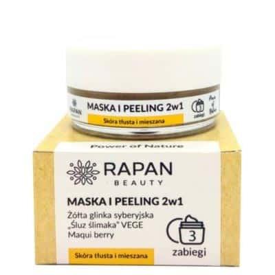 "Maska i peeling 2w1 Power of Nature Żółta glinka + ""śluz ślimaka"" VEGE 3 zabiegi Rapan beauty"