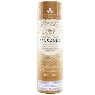 BEN&ANNA Naturalny dezodorant na bazie sody Indian Mandarine (sztyft kartonowy) 60g