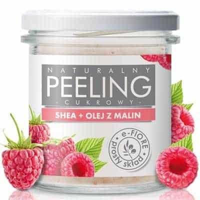 Naturalny peeling cukrowy MALINOWY z olejkiem i nasionami malin 300g e-Fiore