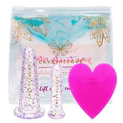 Bańki silikonowe do masażu twarzy crystalcups inspirowane krysztalami + kosmetyczka + szczoteczka do mycia twarzy Crystallove