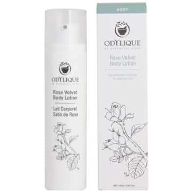Odylique by Essential Care Rose Velvet organiczny aksamitny lotion naprawczy do ciała z aloesem, masłem kokosowym i kakaowym, olejem awokado, różą, głogiem i rozmarynem 100ml