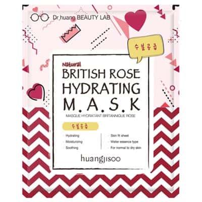 huangjisoo British Rose nawilżająca maska do twarzy w płachcie Brytyjska Róża, Skwalan i Rumianek 25 ml