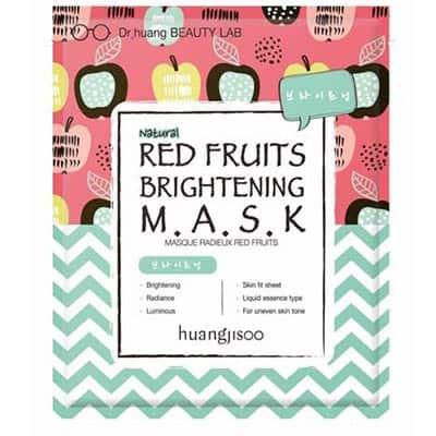 huangjisoo Red Fruits rozjaśniająco-rozświetlająca maska do twarzy w płachcie Czerwone Owoce, Jabłko i Acerola 25 ml