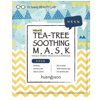 huangjisoo Tea Tree łagodząco-równoważąca maska do twarzy w płachcie Drzewo Herbaciane, Trehaloza i Kolagen 25 ml