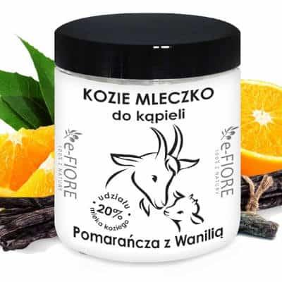 Kozie mleko do kąpieli z kolagenem, pantenolem, olejkiem jojoba Pomarańczą i wanilią 400g E-Fiore