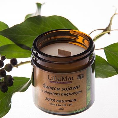 Świeca sojowa o zapachu mięty 50g LillaMai